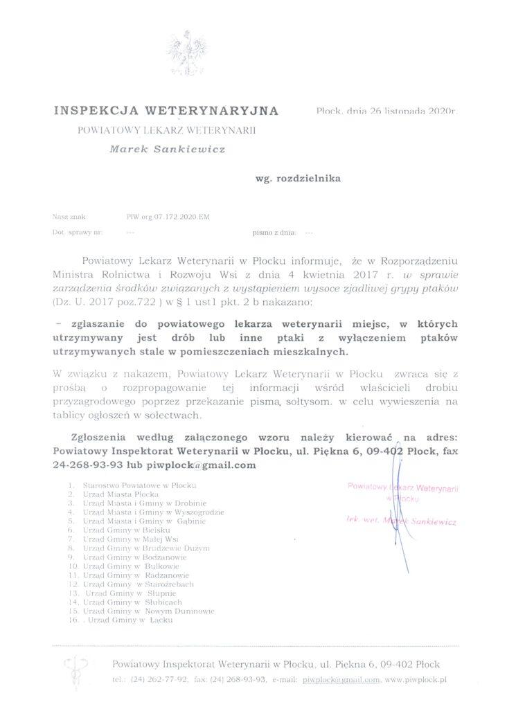 Pismo Powiatowego Lekarza Weterynarii