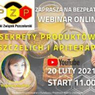 """plakat pt. """"Sekrety produktów pszczelich i apiterapii"""