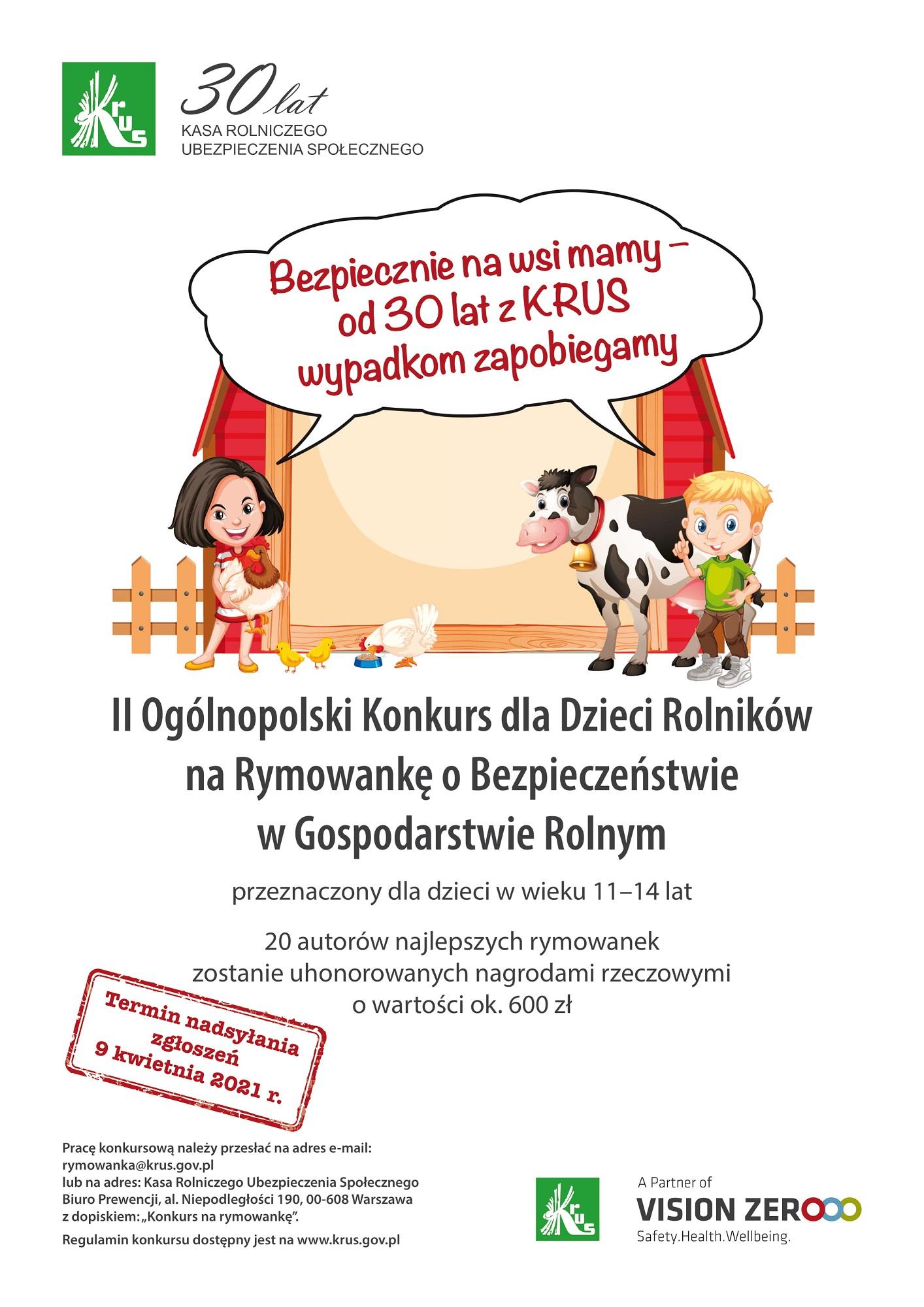 Plakat promujący konkursu KRUS
