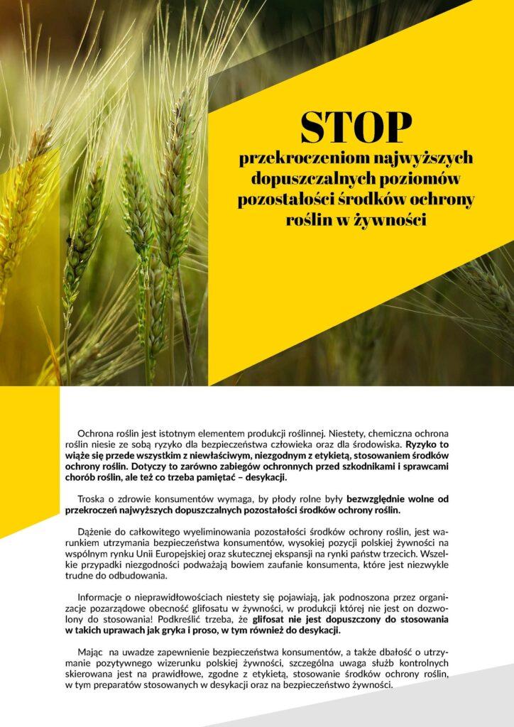 """plakat pt. """"STOP przekroczeniom najwyższych dopuszczalnych poziomów pozostałości środków ochrony roślin w żywności"""""""