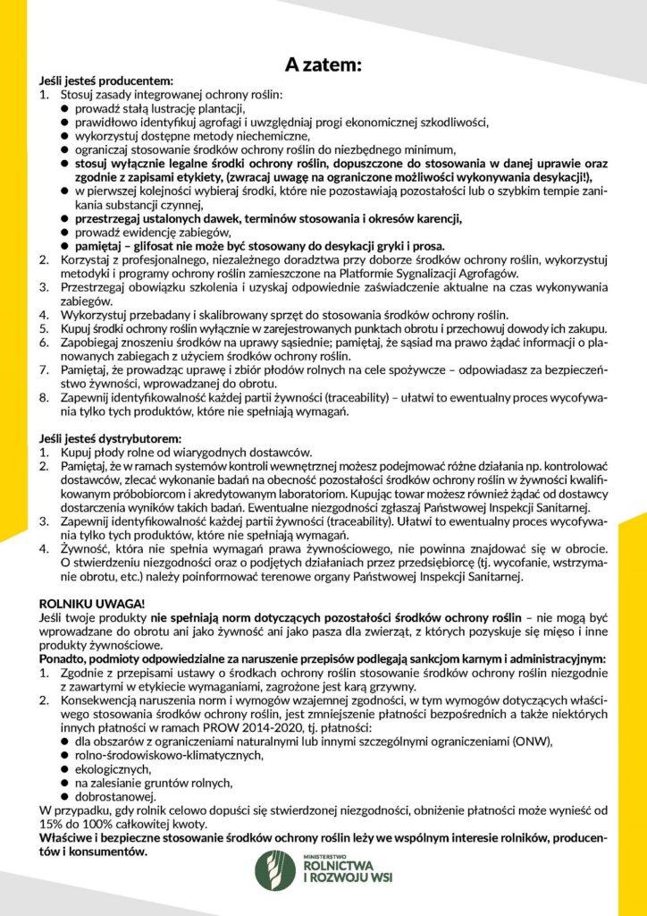 """plakat pt. """"STOP przekroczeniom najwyższych dopuszczalnych poziomów pozostałości środków ochrony roślin w żywności"""" cz. 2"""
