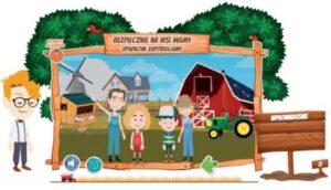 """grafika przedstawiająca rodzinę na tle gospodarstwa rolnego. Nad rodziną napis: BEZPIECZNIE NA WSI MAMY WYPADKOM ZAPOBIEGAMY"""""""