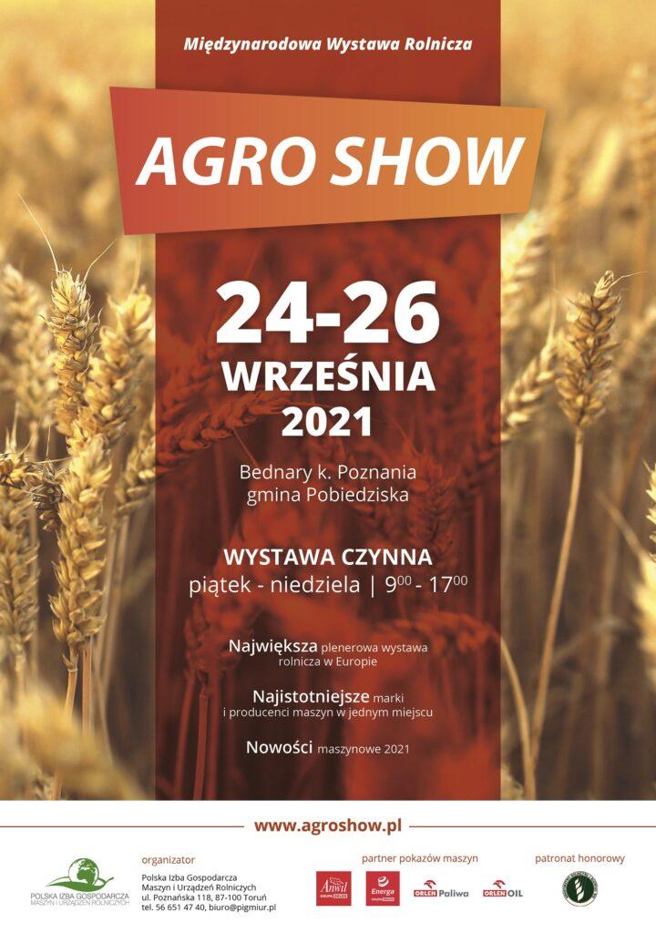 plakat nt. wydarzenia AGRO SHOW w dniach 24-26 września 2021 roku