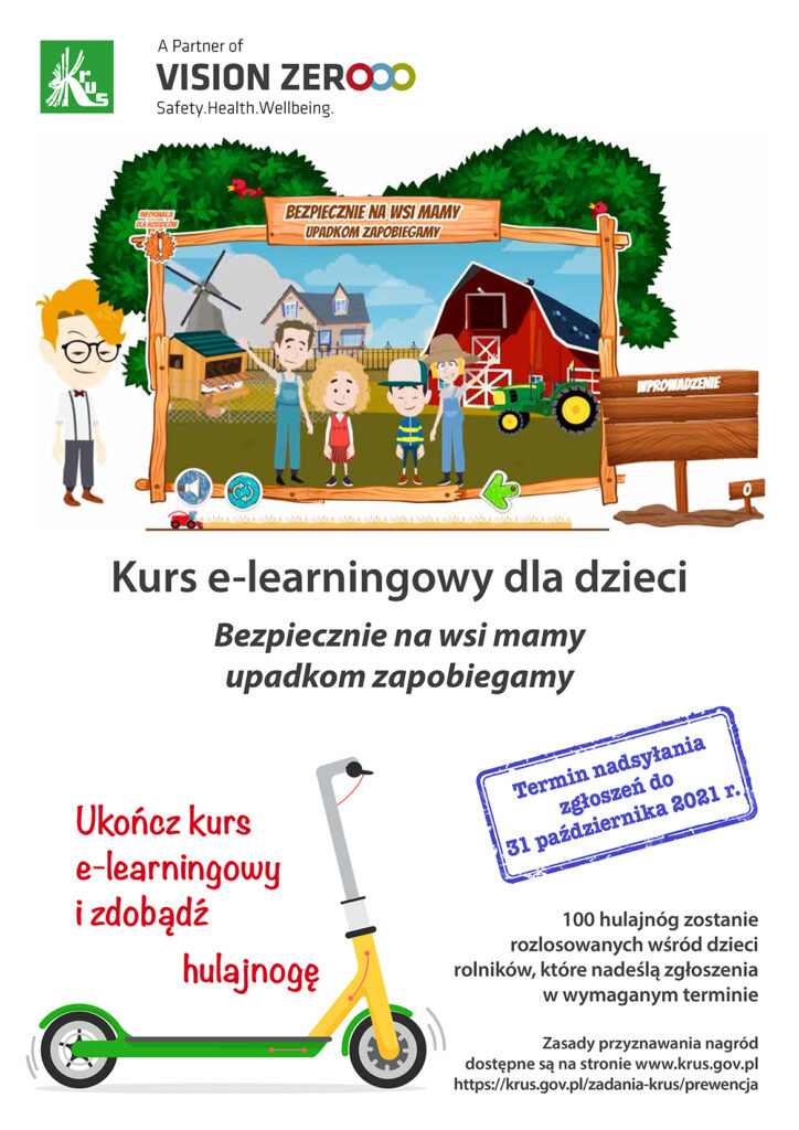 """Plakat z grafiką przedstawiającą rodzinę na tle gospodarstwa rolnego. Nad rodziną napis: BEZPIECZNIE NA WSI MAMY WYPADKOM ZAPOBIEGAMY"""" Na plakacie tytuł Kurs e-lerningowy dka dzieci"""""""